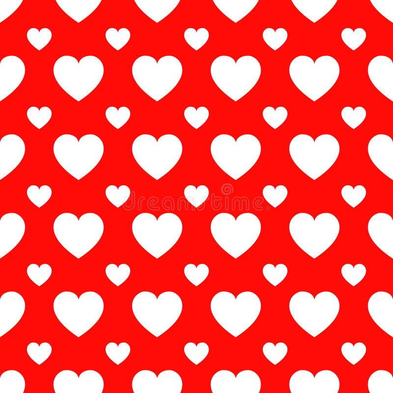 Modelo inconsútil del vector de los iconos de los corazones Fondo del día del ` s de la tarjeta del día de San Valentín Textura r ilustración del vector