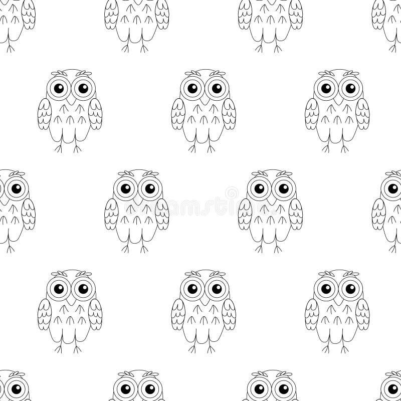 Modelo inconsútil del vector de los pájaros del búho stock de ilustración