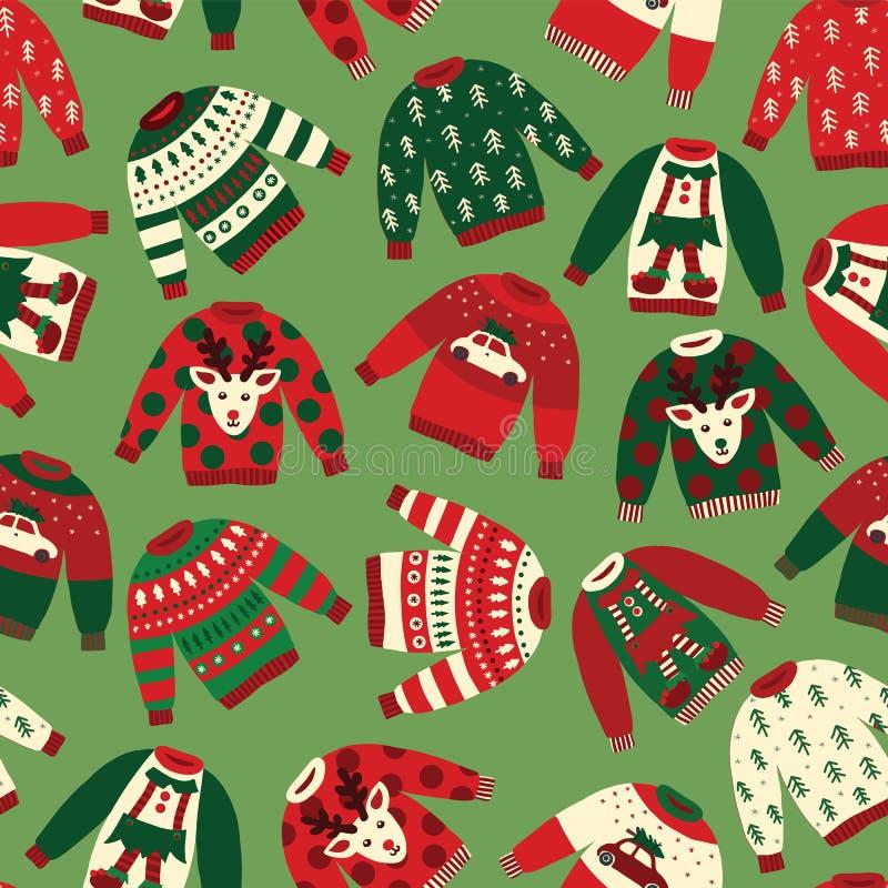 Modelo inconsútil del vector de los suéteres feos de la Navidad ilustración del vector