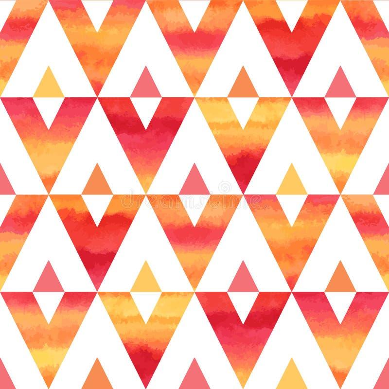 Modelo inconsútil del vector de los triángulos coloridos de la acuarela libre illustration