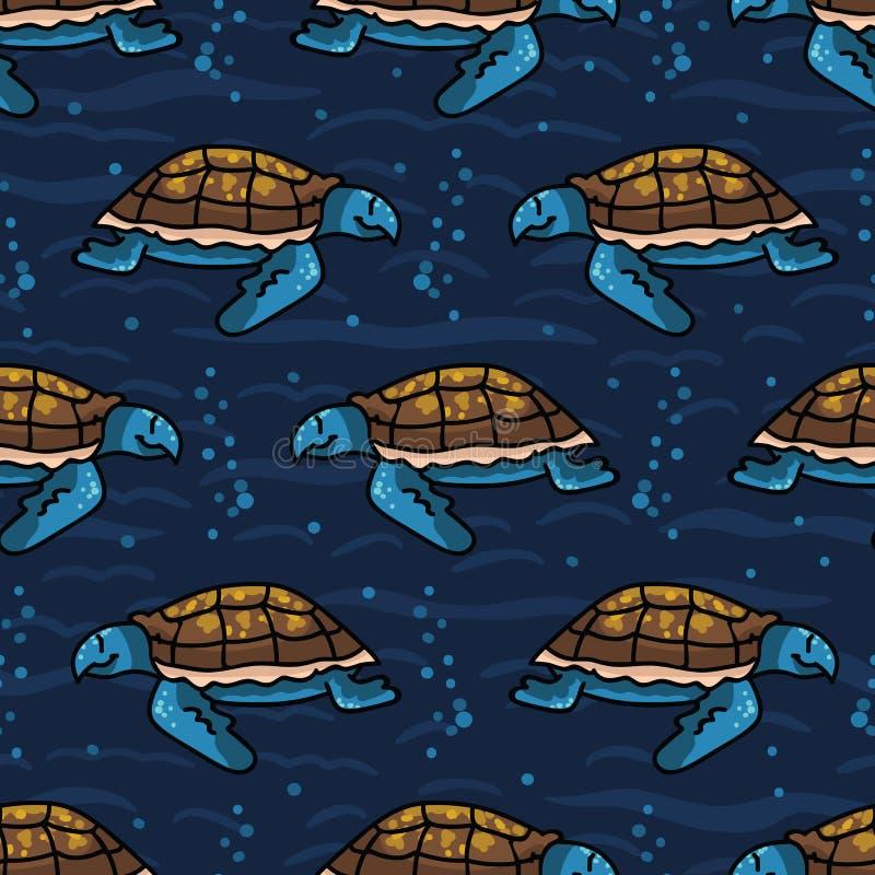 Modelo inconsútil del vector de mar de la historieta linda de la tortuga Teja en peligro exhausta de la vida del oc?ano de la man ilustración del vector