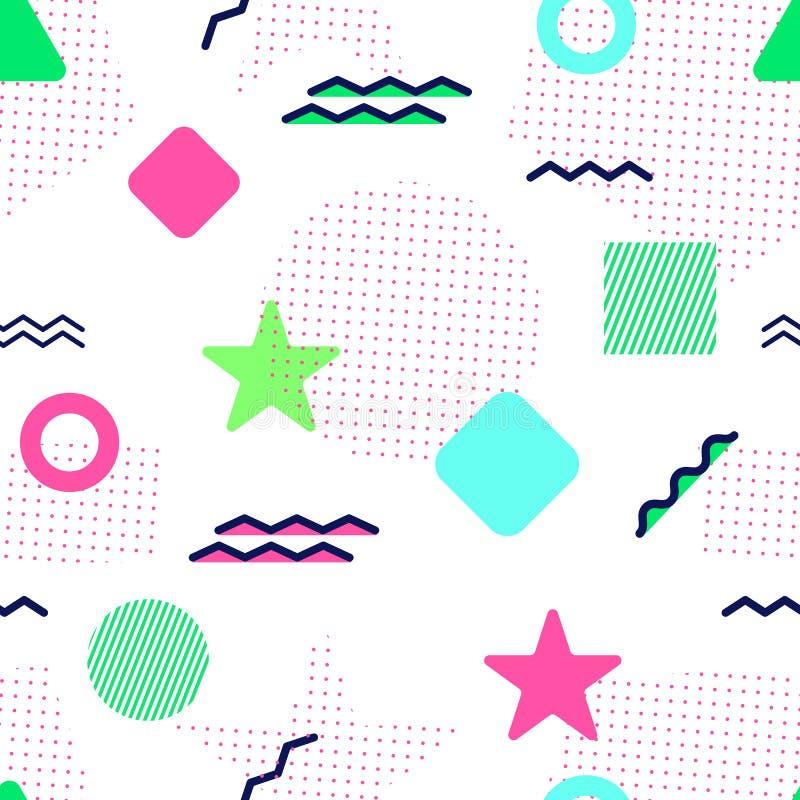Modelo inconsútil del vector de Memphis Formas geométricas coloreadas Fondo abstracto en estilo de moda Textura repetida moderna stock de ilustración