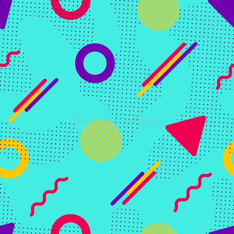 Modelo inconsútil del vector de Memphis Formas geométricas coloridas en estilo moderno Fondo del inconformista Textura repetida d stock de ilustración