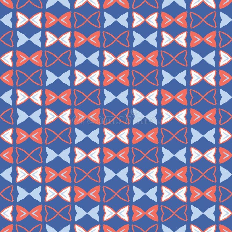 Modelo inconsútil del vector de Memphis Style Geometric Bows Stripes ilustración del vector