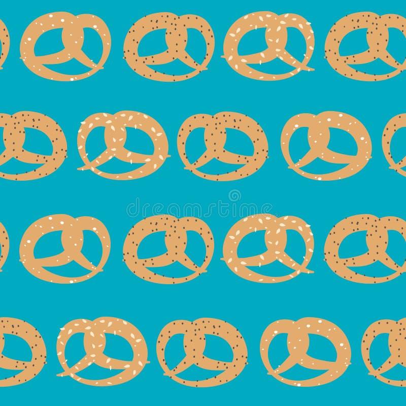 Modelo inconsútil del vector de pretzeles con las semillas del sésamo, de la sal y de amapola en fondo del azul de cielo libre illustration