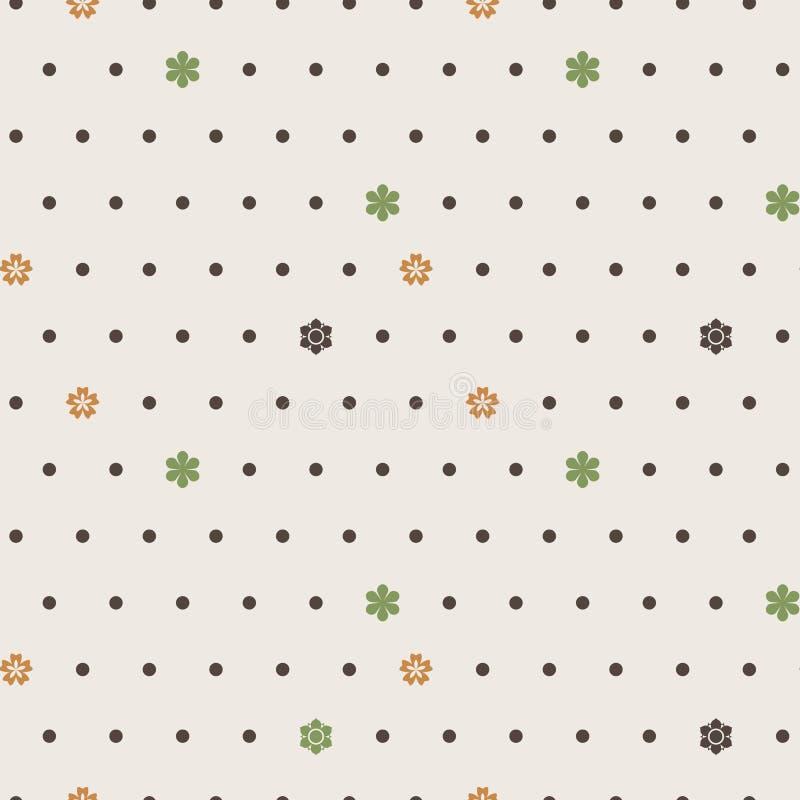 Modelo inconsútil del vector de puntos y de flores foto de archivo libre de regalías