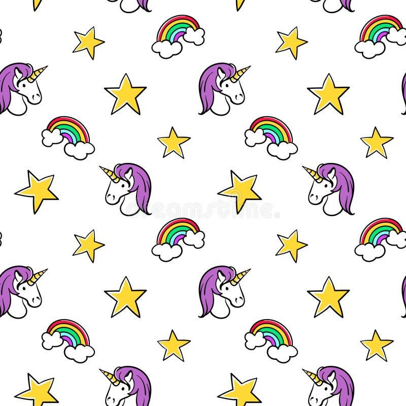 Modelo inconsútil del vector de remiendos de moda: unicornio y estrella libre illustration