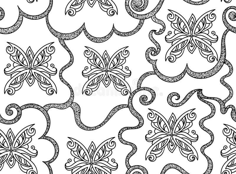 Modelo inconsútil del vector decorativo abstracto hermoso con las mariposas figuradas ilustración del vector