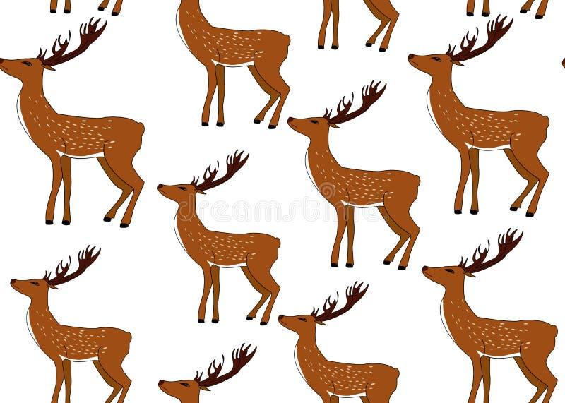 Modelo inconsútil del vector decorativo de la Navidad con los ciervos exhaustos de la mano ilustración del vector