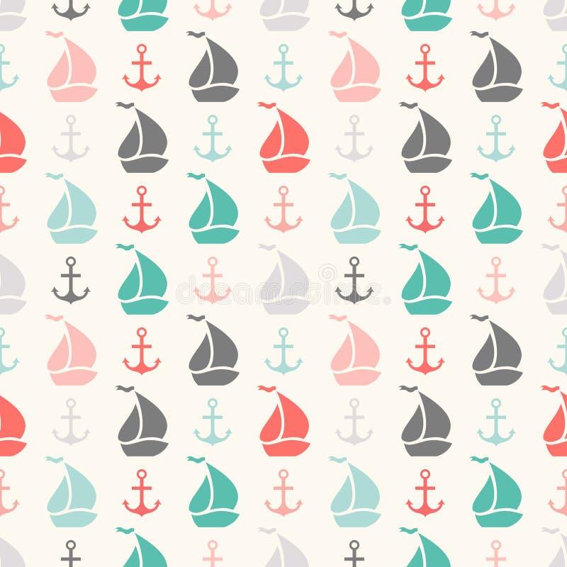 Modelo inconsútil del vector del ancla y del velero libre illustration
