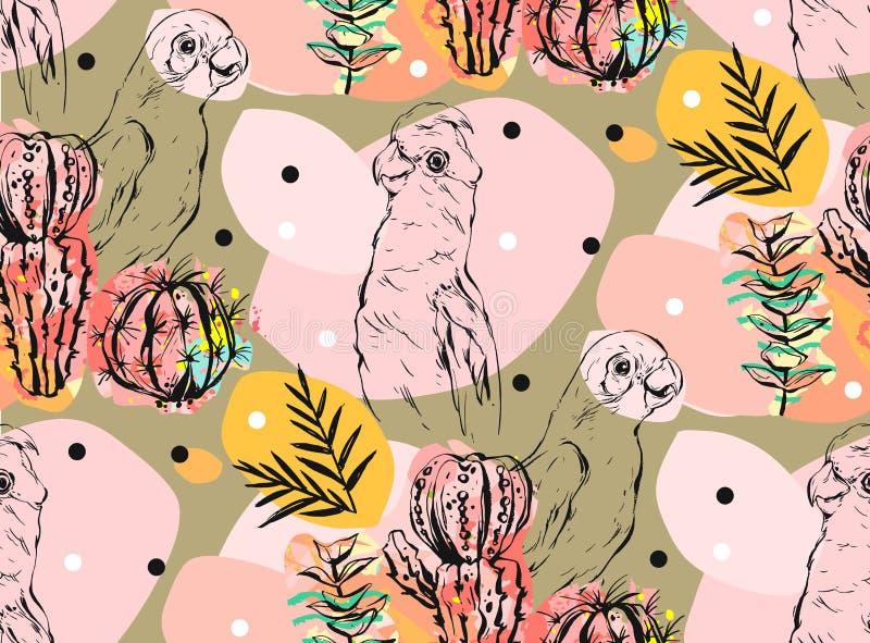 Modelo inconsútil del vector del collage hecho a mano del extracto con los loros tropicales, las plantas del cactus y las flores  stock de ilustración