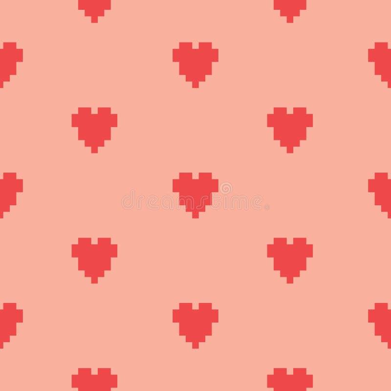 Modelo inconsútil del vector del corazón del arte del pixel ilustración del vector