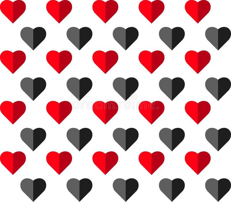 Modelo inconsútil del vector del corazón en el fondo blanco, gráfico del ejemplo para el día del ` s de la tarjeta del día de San imagen de archivo libre de regalías