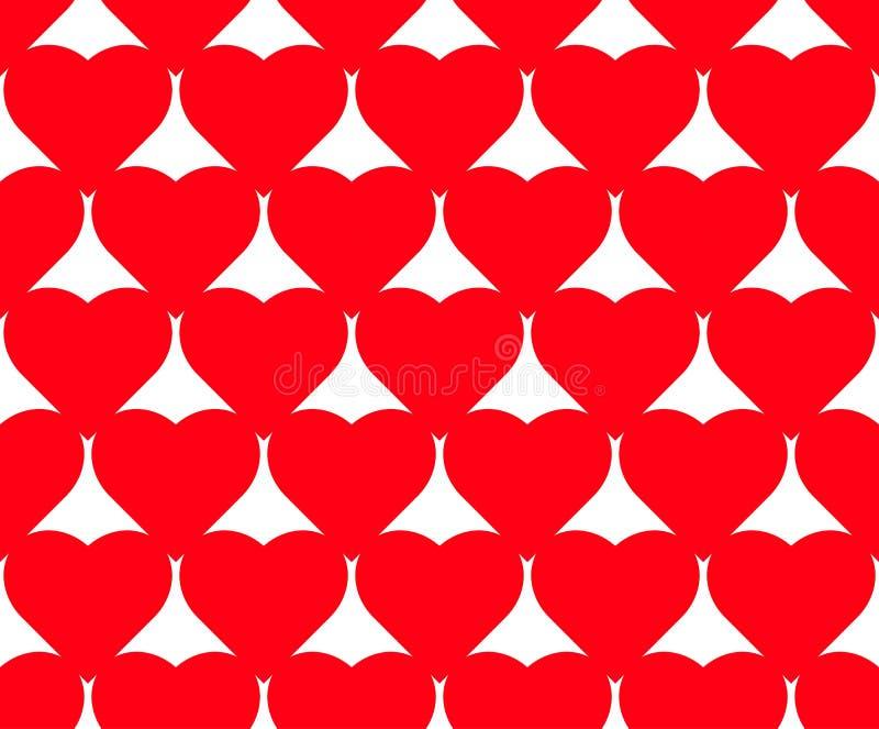 Modelo inconsútil del vector del corazón en el fondo blanco, gráfico del ejemplo para el día del ` s de la tarjeta del día de San fotografía de archivo