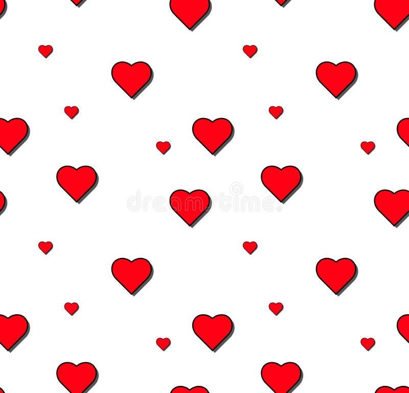 Modelo inconsútil del vector del corazón en el fondo blanco, gráfico del ejemplo para el día del ` s de la tarjeta del día de San foto de archivo libre de regalías