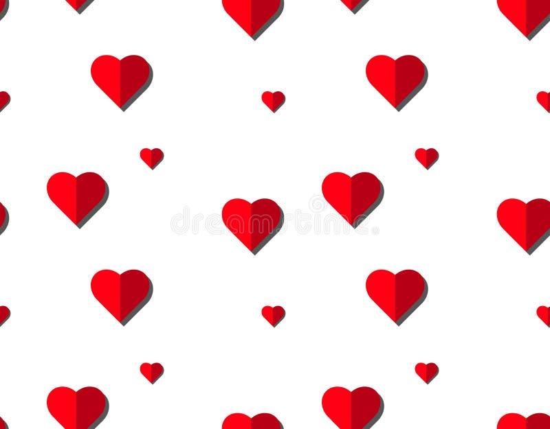 Modelo inconsútil del vector del corazón en el fondo blanco, gráfico del ejemplo para el día del ` s de la tarjeta del día de San imagenes de archivo