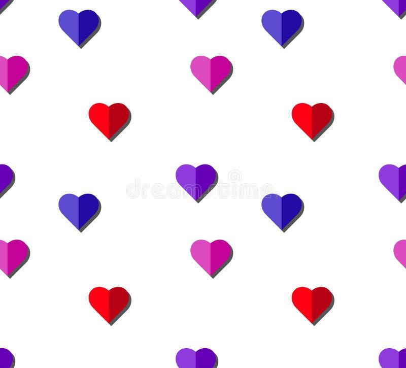 Modelo inconsútil del vector del corazón en el fondo blanco, gráfico del ejemplo para el día del ` s de la tarjeta del día de San fotos de archivo