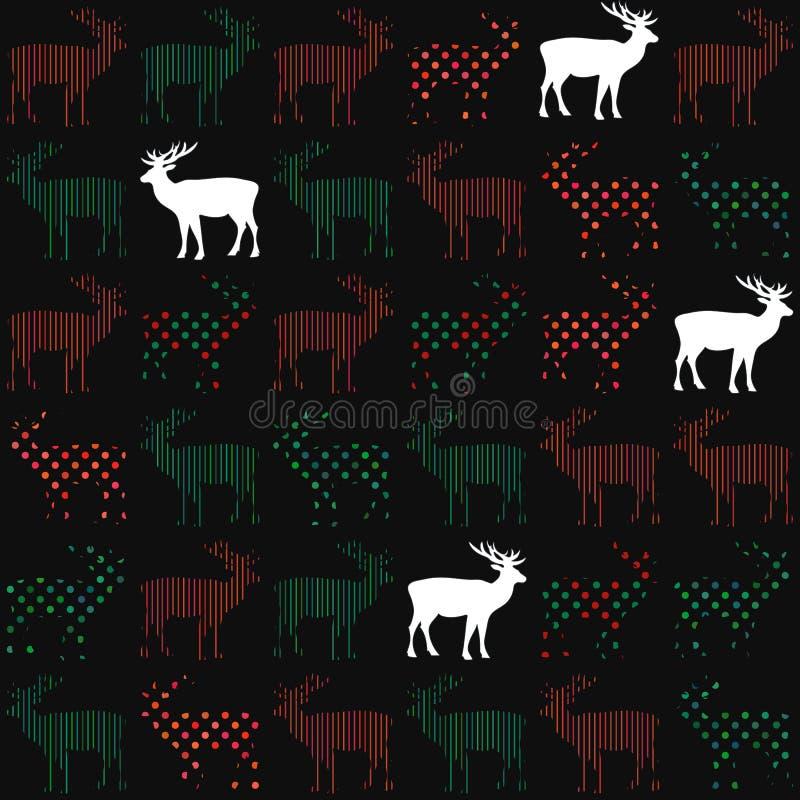 Modelo inconsútil del vector del día de fiesta de la Navidad de los ciervos imagen de archivo libre de regalías