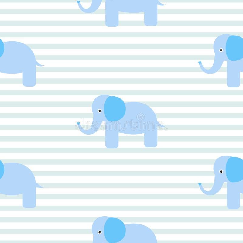 Modelo inconsútil del vector del elefante azul lindo libre illustration