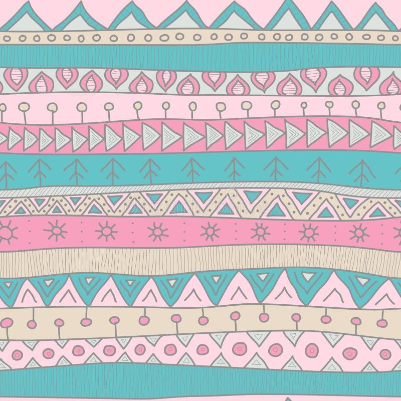 Modelo inconsútil del vector del estilo tribal para la materia textil, scrapbooking, papel de embalaje y fondo Árbol congelado so libre illustration