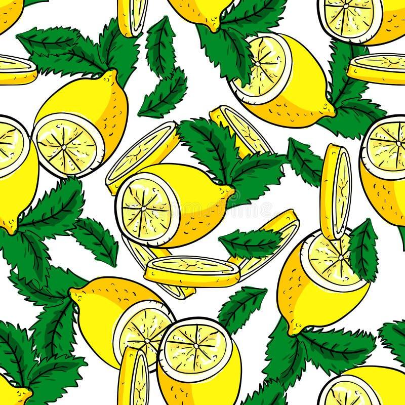 Modelo inconsútil del vector del limón y de la menta stock de ilustración