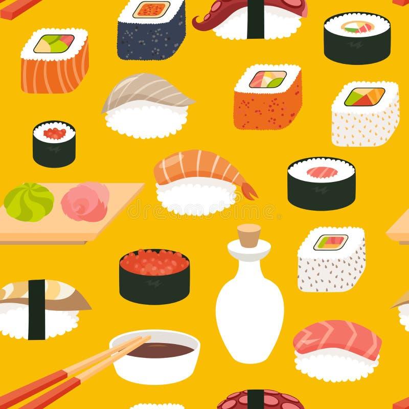 Modelo inconsútil del vector del sushi, estilo de la historieta ilustración del vector
