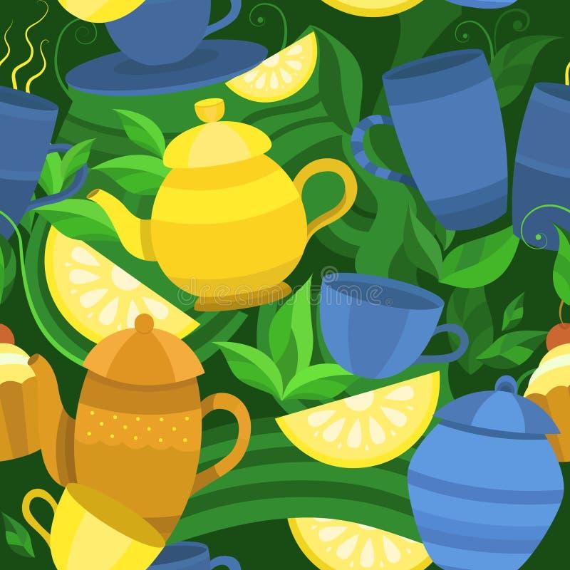 Modelo inconsútil del vector del té stock de ilustración