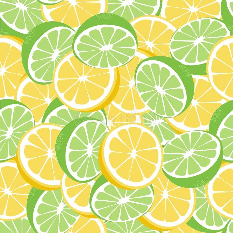 Modelo inconsútil del vector del verde de la limonada del limón y de la cal libre illustration