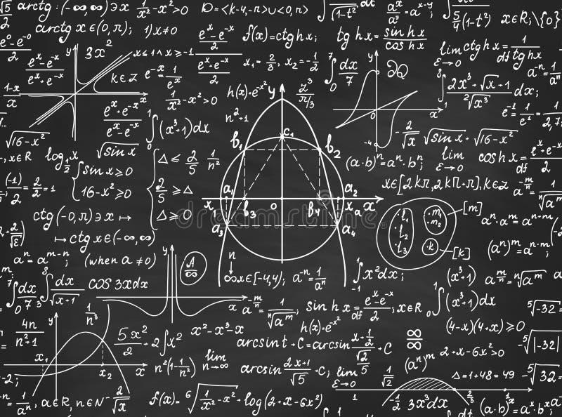 Modelo inconsútil del vector educativo matemático con las figuras de la geometría, los cálculos de la álgebra y las ecuaciones ma ilustración del vector