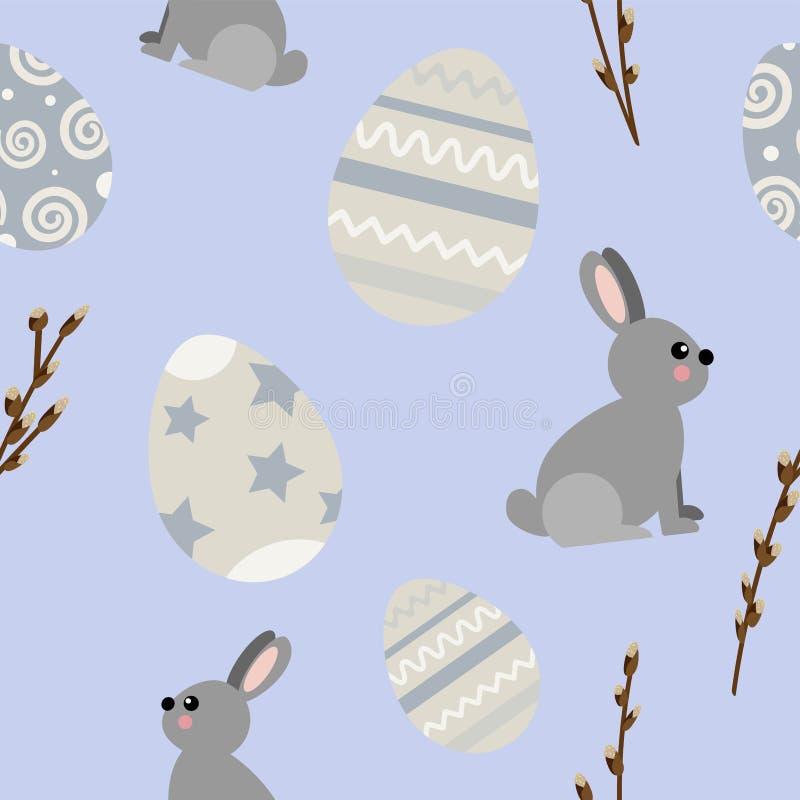 Modelo inconsútil del vector en el tema de Pascua y de la primavera Ilustración de la historieta stock de ilustración