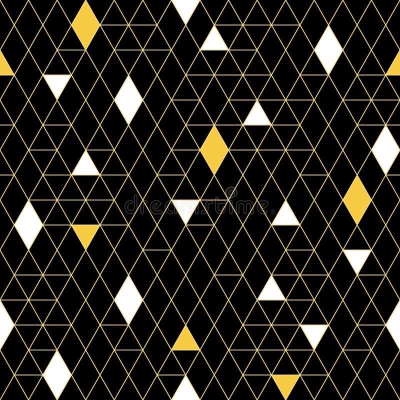 Modelo inconsútil del vector en estilo linear de moda Fondo de oro de lujo Textura de la vendimia libre illustration