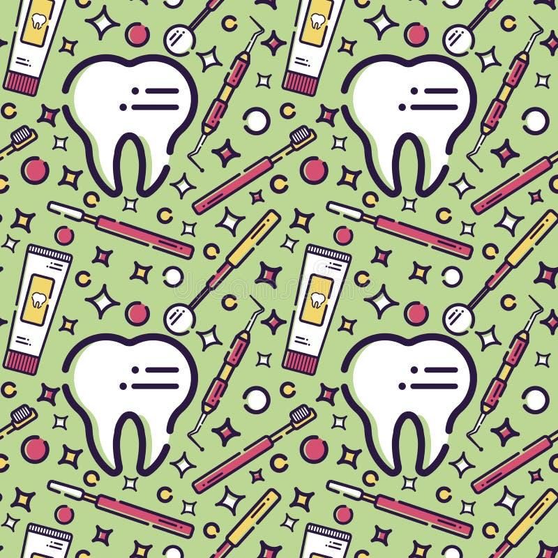 Modelo inconsútil del vector en tema dental Dientes y equipo para los dentistas Utilizado para los fondos, tarjetas, papeles pint stock de ilustración