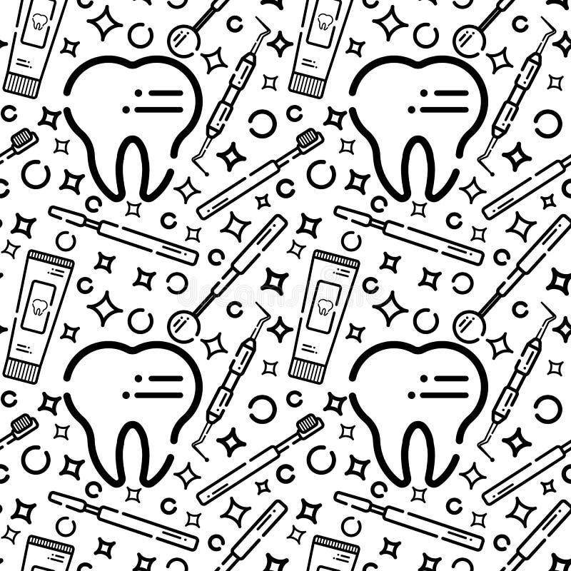 Modelo inconsútil del vector en tema dental Dientes y equipo para los dentistas Utilizado para los fondos, tarjetas, papeles pint libre illustration