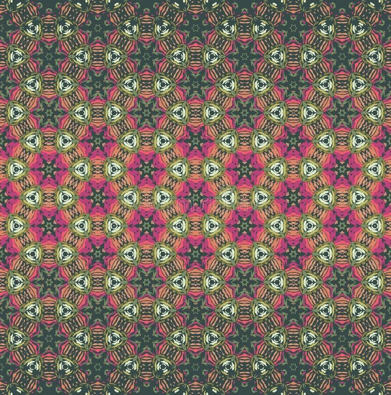 Modelo inconsútil del vector del estilo del ombre bohemio del caleidoscope en verde, rosa y color anaranjado Textura para la web, stock de ilustración