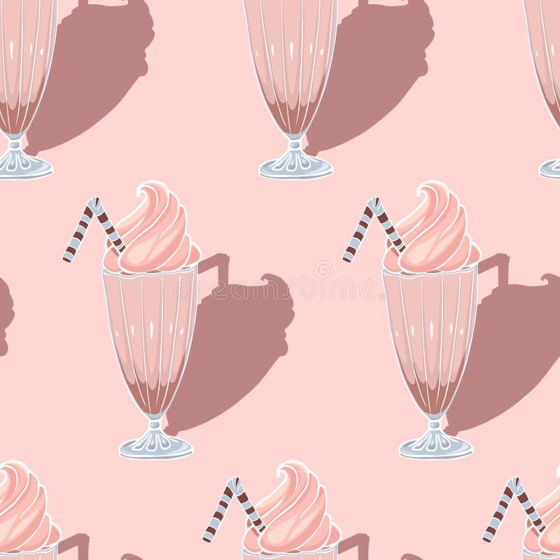 Modelo inconsútil del vector exhausto de la mano del batido de leche de la fresa stock de ilustración