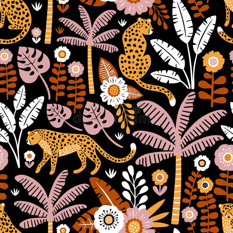 Modelo inconsútil del vector exhausto de la mano con los leopardos, las palmeras y las plantas exóticas en fondo negro libre illustration