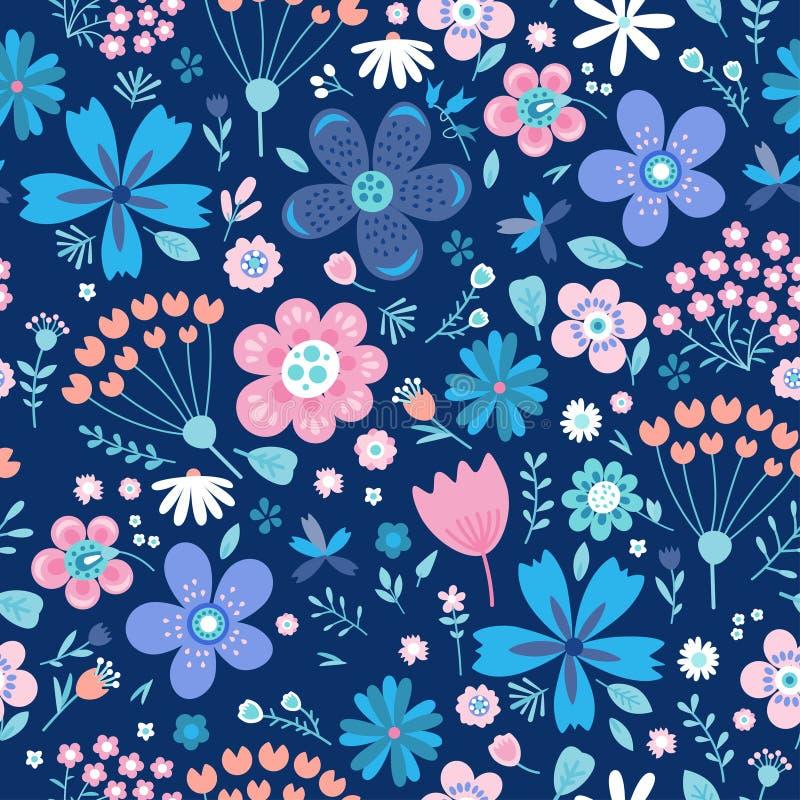 Modelo inconsútil del vector floral asombroso de flores libre illustration