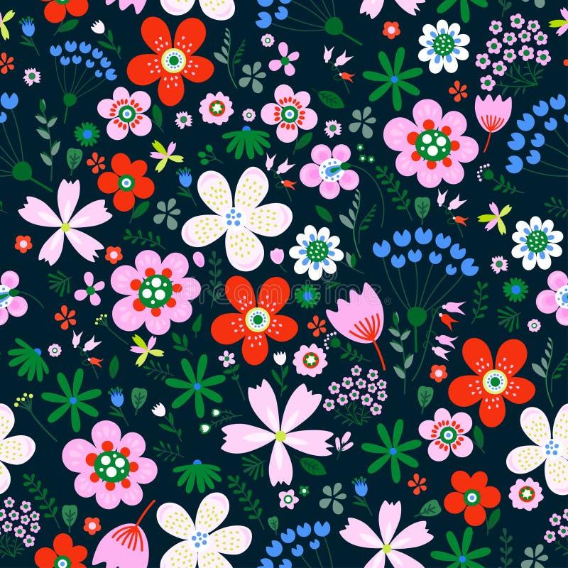 Modelo inconsútil del vector floral asombroso de flores stock de ilustración