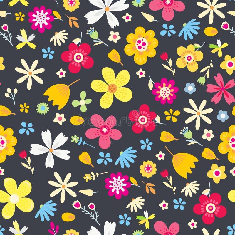 Modelo inconsútil del vector floral asombroso de flores ilustración del vector