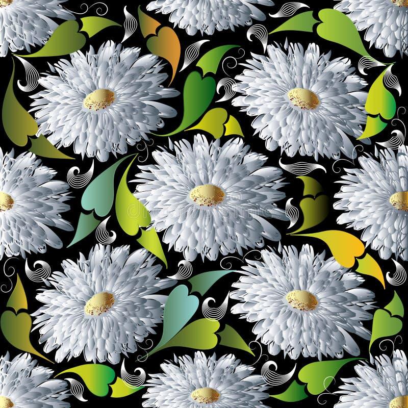 modelo inconsútil del vector floral 3d Margarita blanca del flor, aster, c libre illustration