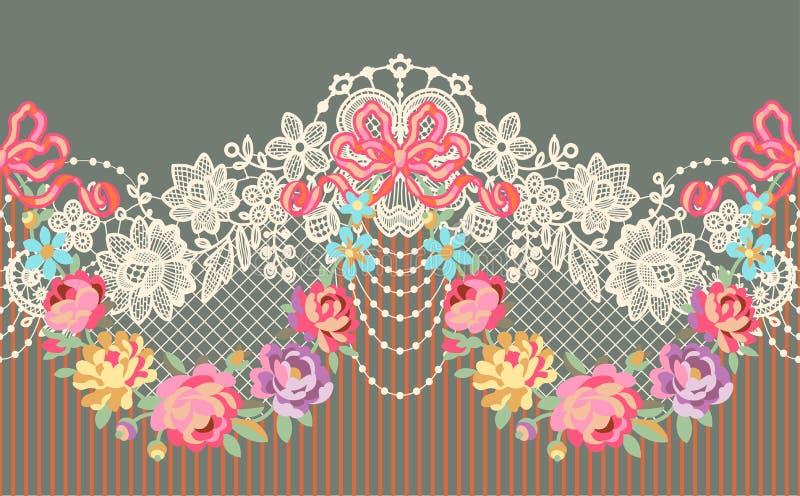 Modelo inconsútil del vector floral romántico de la cinta del cordón libre illustration