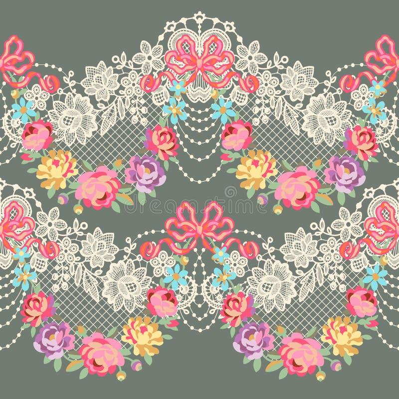 Modelo inconsútil del vector floral romántico de la cinta del cordón stock de ilustración