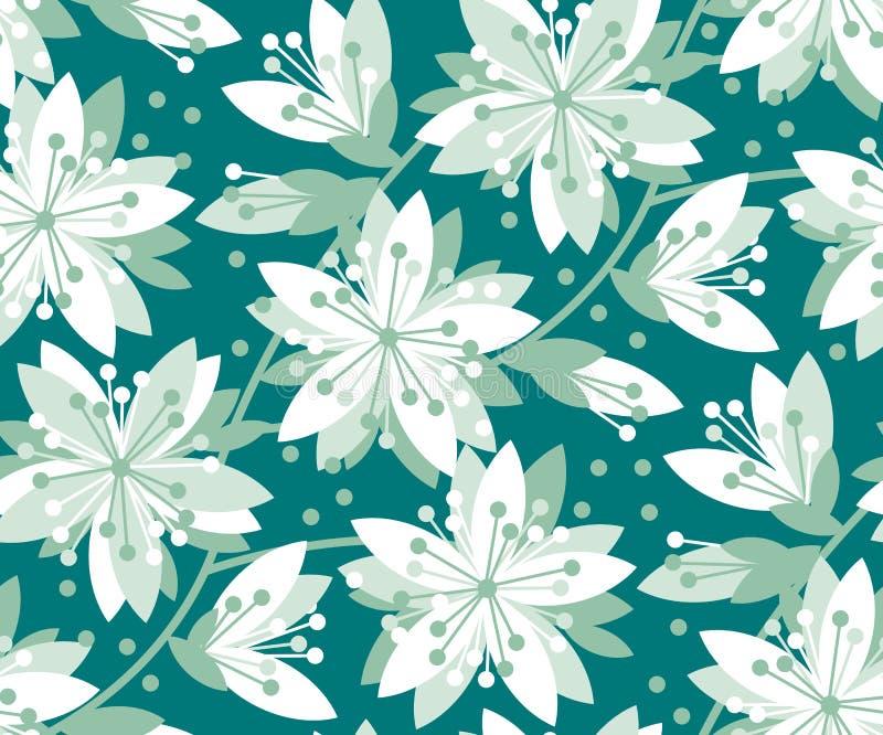 Modelo inconsútil del vector floral verde y blanco ilustración del vector
