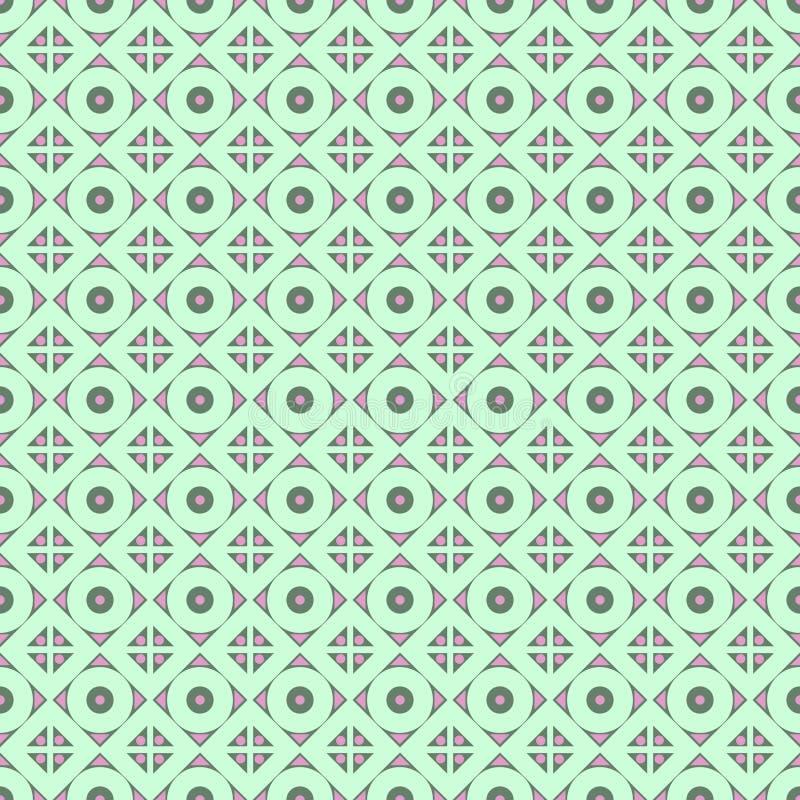 Modelo inconsútil del vector Fondo abstracto geométrico simétrico con el Rhombus y círculos en colores de la turquesa ilustración del vector