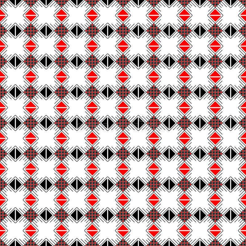 Modelo inconsútil del vector Fondo abstracto geométrico simétrico con los cuadrados, los rectángulos y las líneas en c negra, bla ilustración del vector