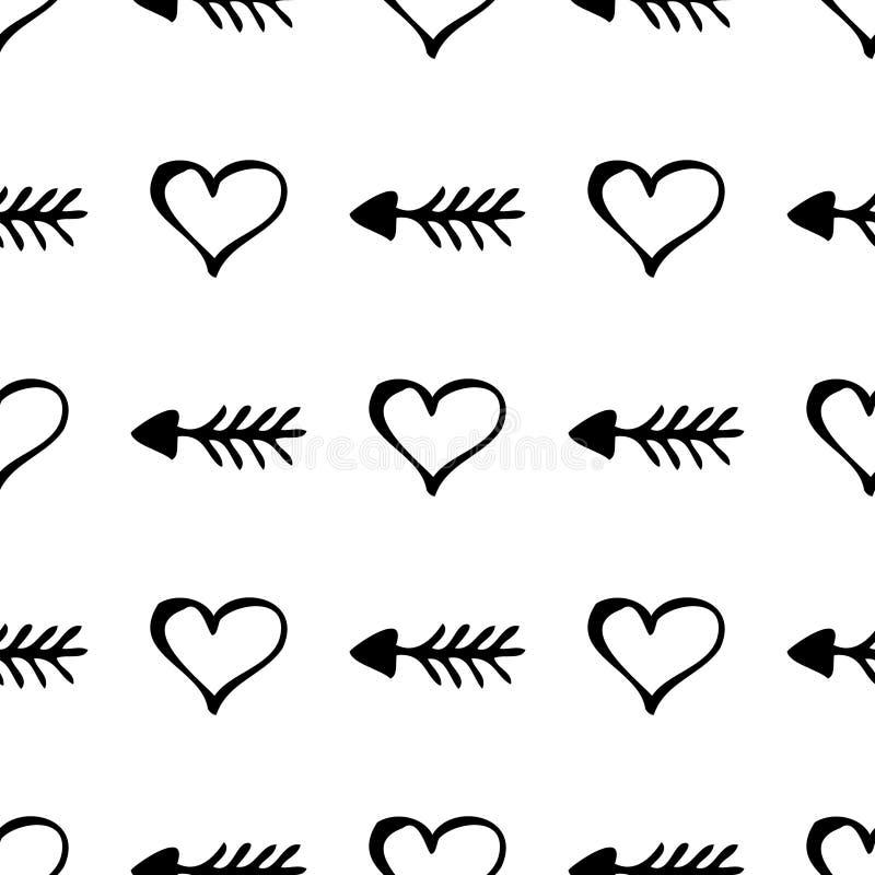 Modelo inconsútil del vector Fondo blanco y negro simple con los corazones y las flechas dibujados mano stock de ilustración