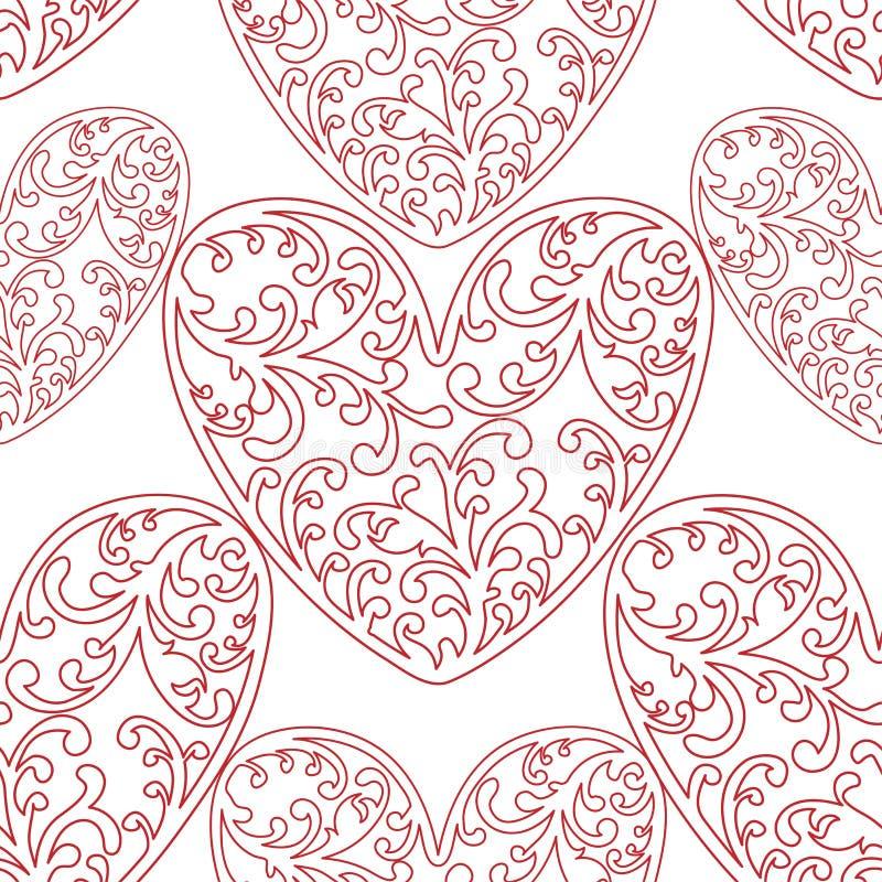 Modelo inconsútil del vector del fondo de los corazones El ejemplo sin fin se puede utilizar para el papel pintado, terraplenes d ilustración del vector