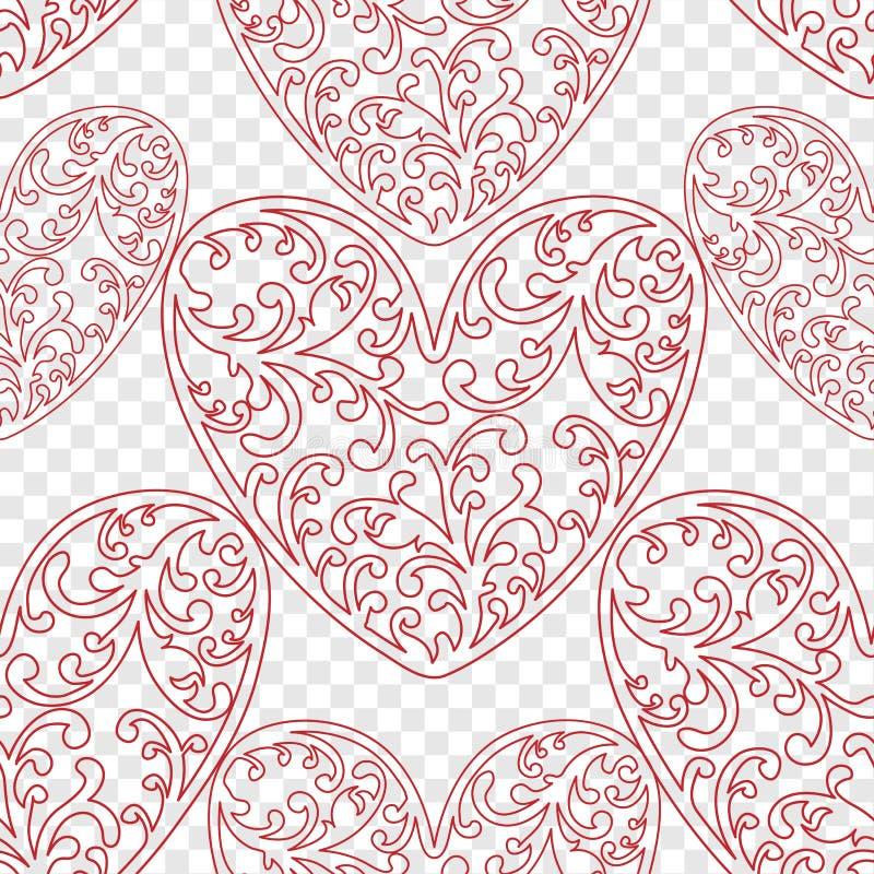 Modelo inconsútil del vector del fondo de los corazones El ejemplo sin fin se puede utilizar para el papel pintado, terraplenes d stock de ilustración