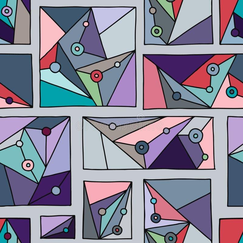 Modelo inconsútil del vector Fondo exhausto de la mano geométrica azul con los rectángulos, cuadrados, triángulos, puntos Impresi stock de ilustración