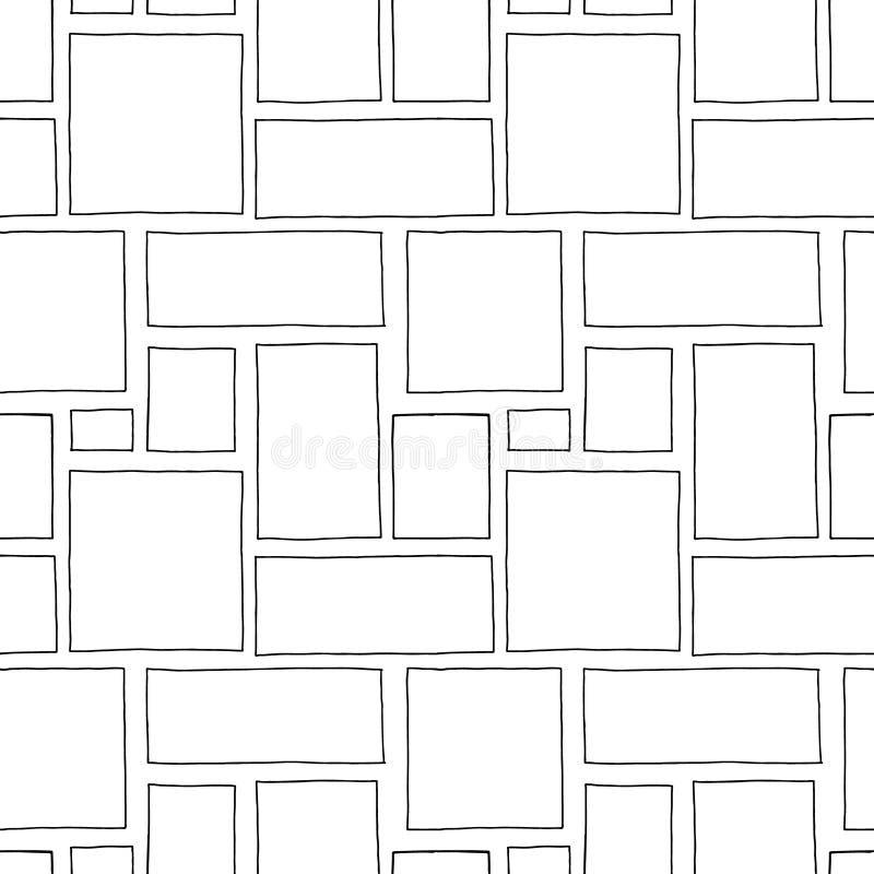 Modelo inconsútil del vector Fondo exhausto de la mano geométrica blanco y negro con los rectángulos, cuadrados Impresión simple  ilustración del vector